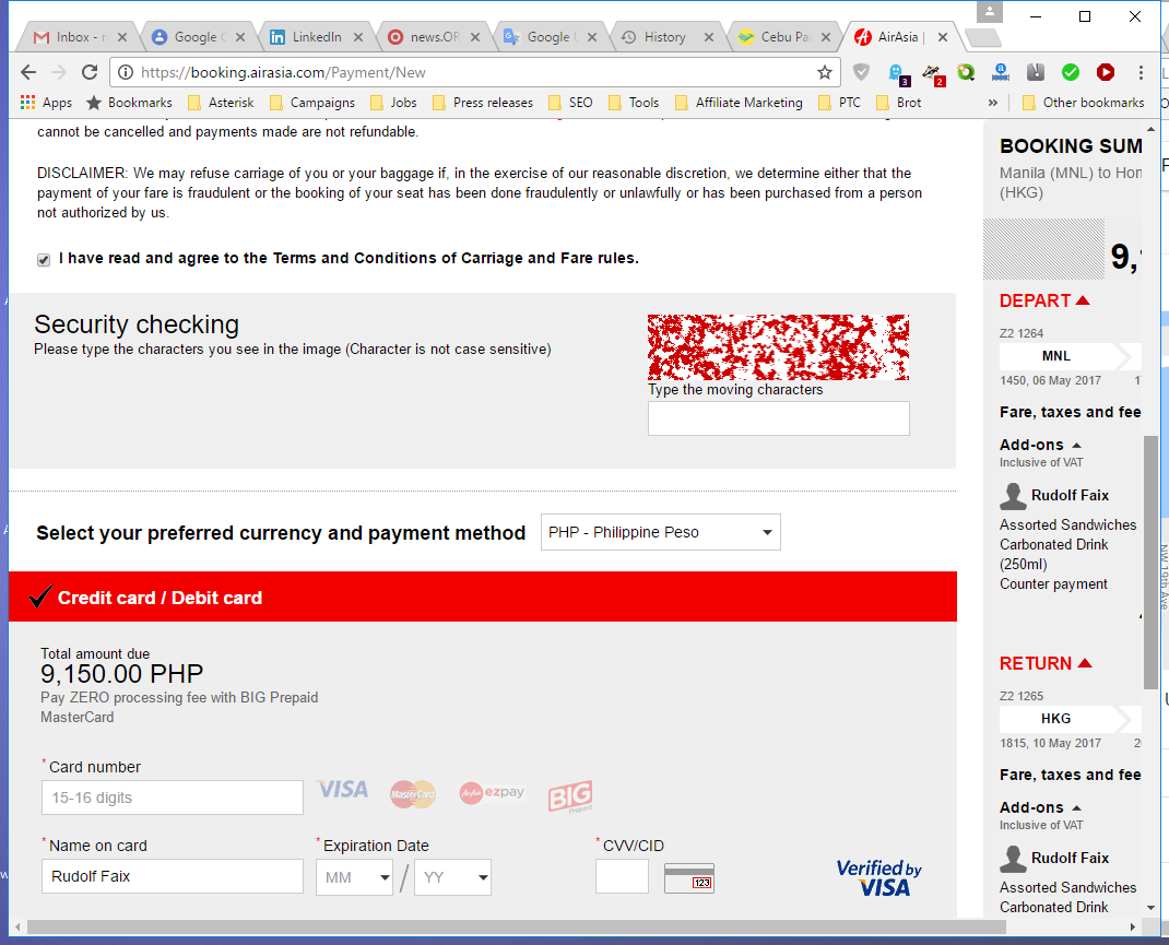 AirAsia screenshot from the booking process