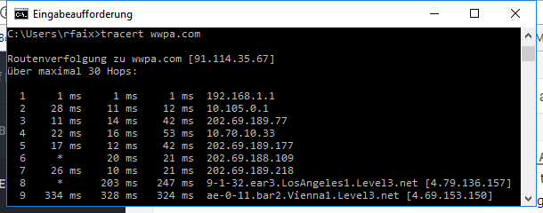 Screenshot from the Windows command line of a tracert