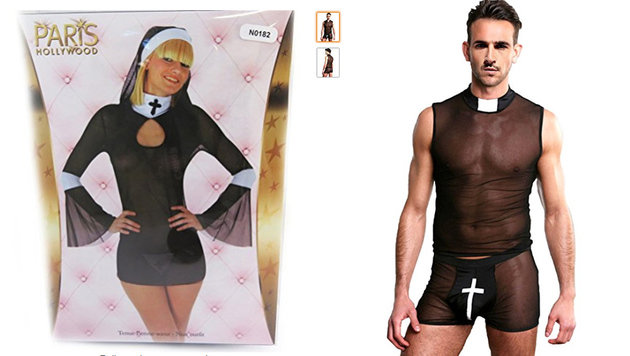 "Screenshot Amazon offer ""unholy nun costume"" and ""seductive priest's outfit"""